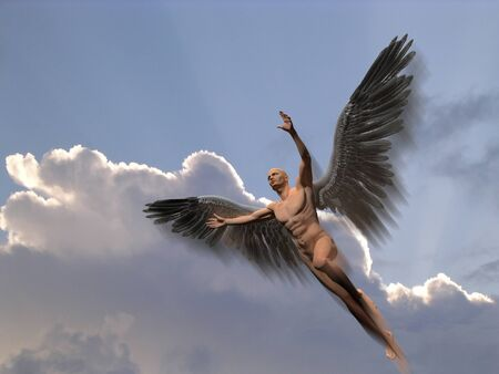 Angel with dark wings flies in the sky