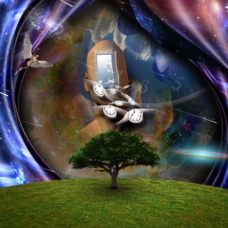 Surrealism. Flow of Time through space. Naked man with wings represents angels. 3D rendering Stock Photo