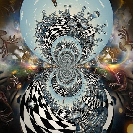 Eternal game. Surreal art. Fractal with chess pieces