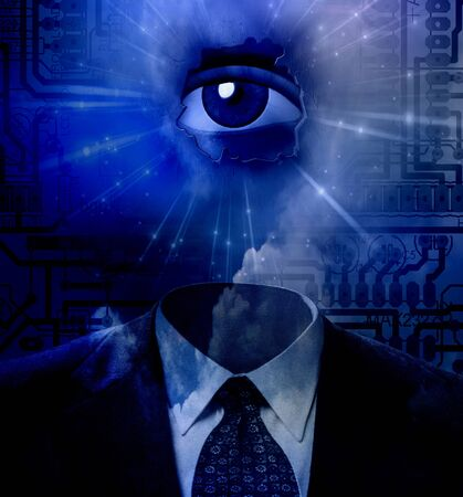 Overseer. Mans suit and eye on circuit board background