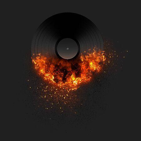Burning record on black background