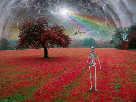 Skeleton in surreal landscape. Angels fly in the sky
