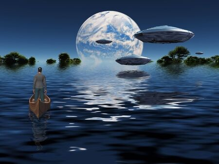 Flying saucers flies above ocean on water planet. Green forest at the horizon. Man in wooden boat Standard-Bild