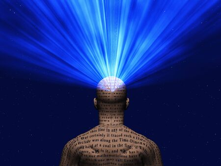 Rays of light comes out human head. Power of Mind