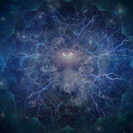 Tercer ojo. Rostro de mujer en el espacio