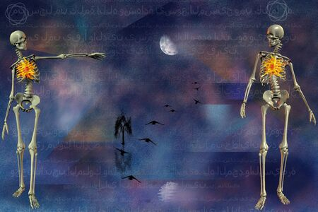 The way to Eternity. Spiritual composition with skeletons and atoms. Inscriptions in Arabic