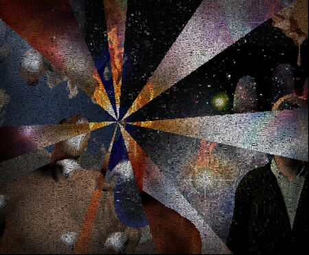 Arrow of time. Complex surreal composition. Words