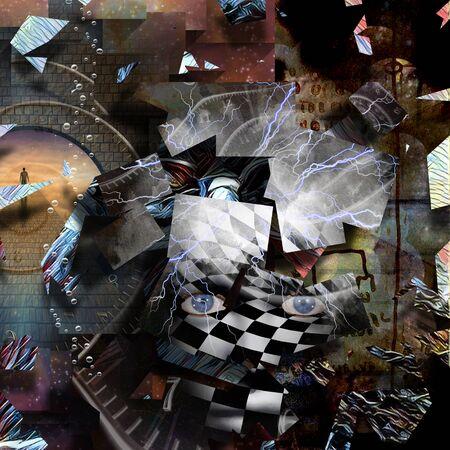 Modern surrealism. Piece of Mind. 3D rendering