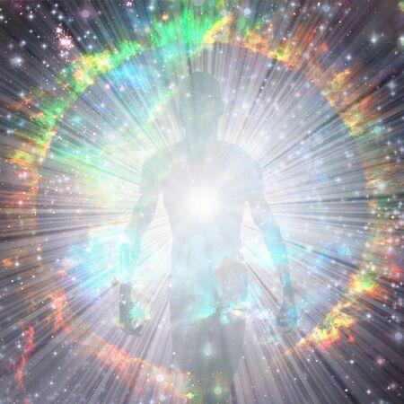 Strahlende Aura und Lichtstrahlen