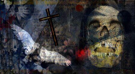 Spiritual dark art composition. Skull, cross and angel wings Stok Fotoğraf - 131219356