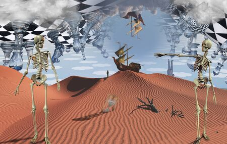Surreal desert with chessboard and figures. Ancient ship in the sky. Skeletons, hourglass and dried branch. Figure of man in a distance and ancient ship on a sand dune