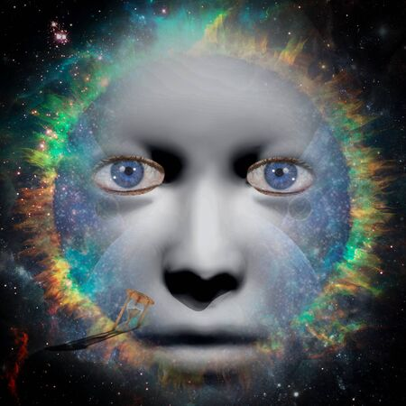 Glance through eternity. Woman face in space