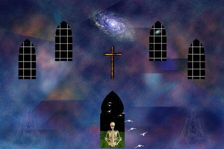 Spiritual healing. Skeleton in lotus pose, cross and galaxy
