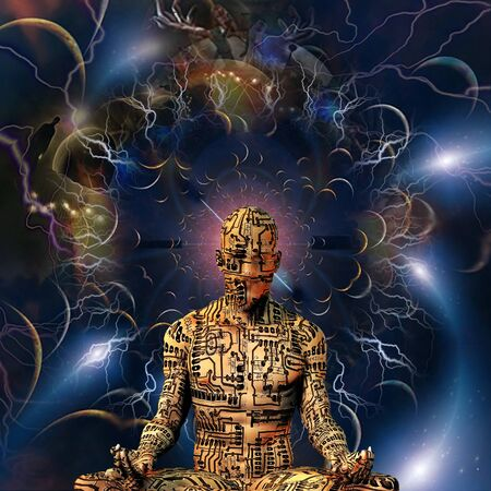 Cyborg Meditation. Droid in lotus pose in endless space