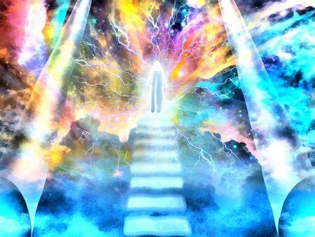Esprit brillant sur un escalier vers le ciel Banque d'images