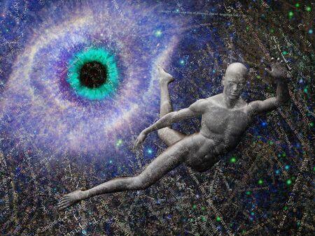 Man flying in deep space. Galaxy in eye shape. Random words background