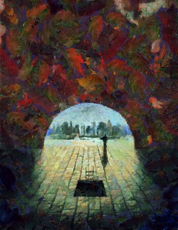 City seen from underground tunnel. Digital painting
