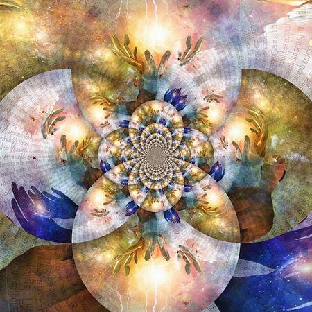 Spiritual fractal. Holy energy in hands of God Imagens