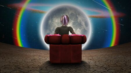 Surreal composition. Girl sits in red armchair and observes moon and rainbow in vivid universe. 3D rendering