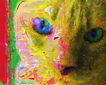 Cat. Colorful digital painting. 3D rendering