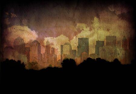 City grunge. Manhattan view. Modern digital art