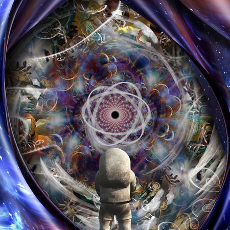 Eternity. Astronaut in front of time and space