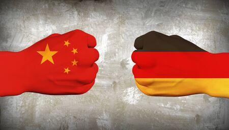 China vs Germany. Men hands