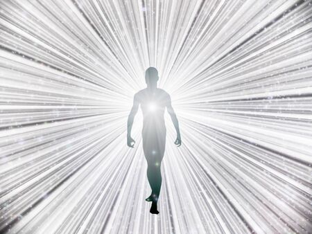 Soul or spirit. Human Figure Emerges from Light