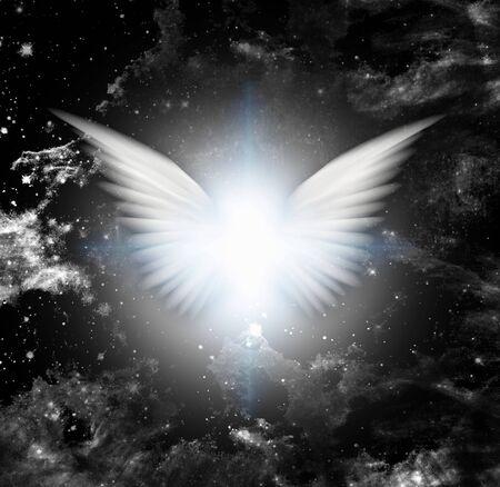 Brillantes alas de ángel o estrella Foto de archivo
