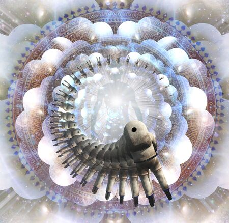 Shining aura and rays of light. Mandala. Spiral of astronauts figure