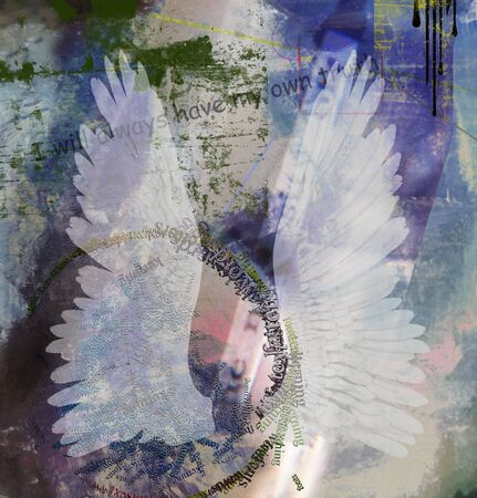 Spiritual abstract composition. White wings
