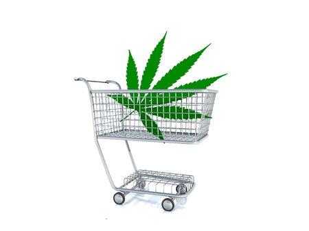 Marijuana in a shopping cart 免版税图像