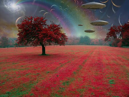 Fantastic landscape. Rainbow and spacecrafts in the sky