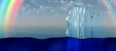 Iceberg and rainbow in quiet sea