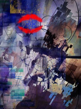 Modern grunge abstract art. Atomic Kiss Stockfoto