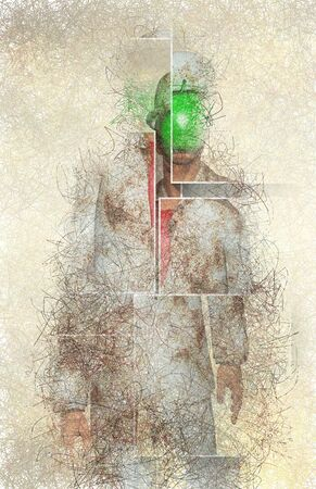 Surreal digital art. Man in white corroded suit with green apple instead of face Stock fotó