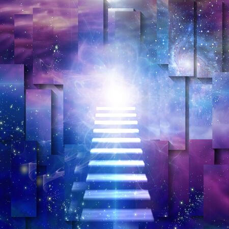 Steps up into cosmos. Spiritual composition Stock fotó