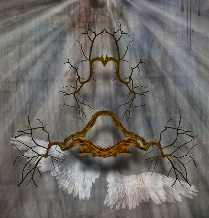 Spiritual art. Abstract roots on mystic background. Shining light and angels wings. Symbolic composition