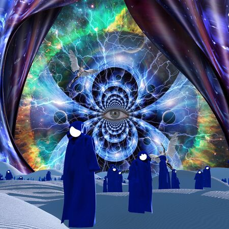 Empty Souls. Spiritual composition with all-seeing eye and faceless monks Stock Photo