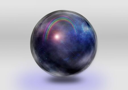 Captured space and rainbow inside of glass sphere Фото со стока