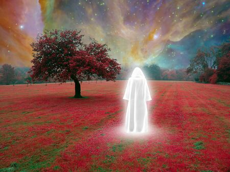 White monk in red surreal landscape. Vivid nebulae in the sky Imagens