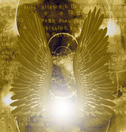 Angel wings in holy light
