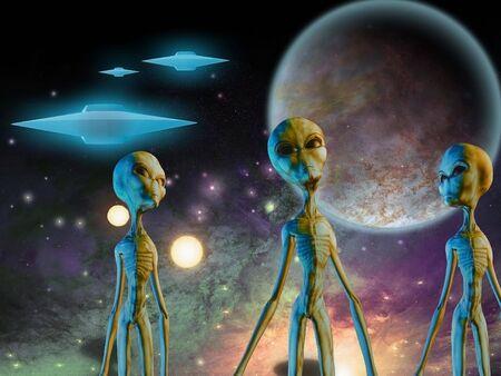 Three aliens. Flying saucers in space Stock fotó