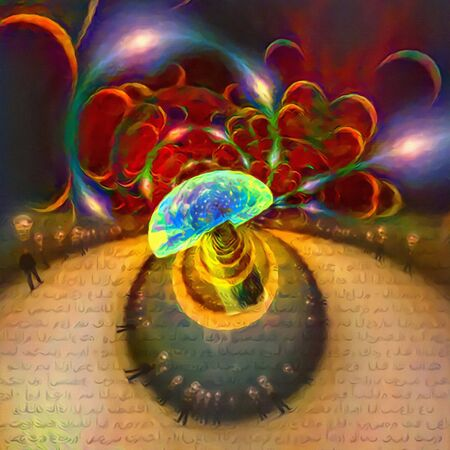 Abstract colorful composition. Hallucinogenic mushroom leads to endless dreams