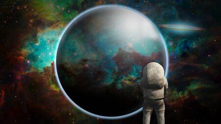 Astronaut before exoplanet in vivid space Banco de Imagens