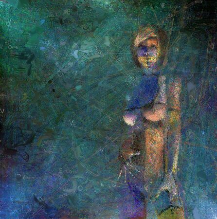 Digital abstract composition. Woman. 3D rendering Stockfoto
