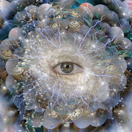 All seeing eye. Winged clocks represents flow of time Reklamní fotografie - 133299419