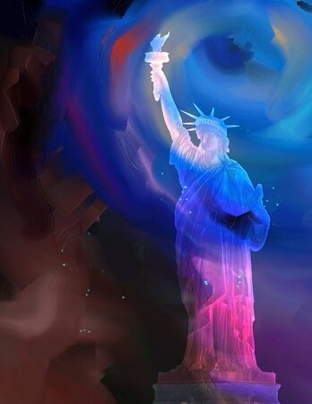Oil painting. Liberty statue. 3D rendering