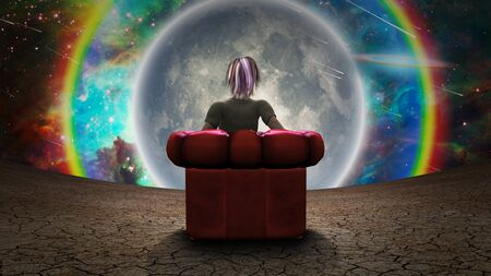 Woman in red armchair. Giant moon in vivid sky