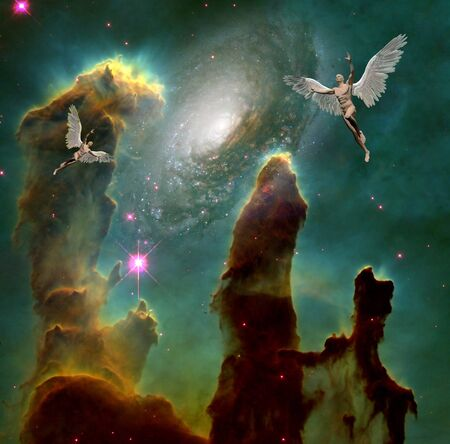 Surrealism. Men with wings symbolizes angels in space. 3D rendering